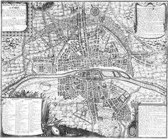 """TIL of the medieval """"Wolves of Paris"""". In the winter of 1450 a pack of wolves raided Paris and killed 40 people. Enraged the citizens lured the wolves into the city center. They were slaughtered with rocks and spears in front of the Notre Dame Cathedral. Old Maps, Antique Maps, France Map, Paris France, Medieval, Plan Ville, Plan Paris, Village Map, Paris Winter"""