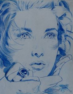 'Blue Girl' Pencil, Roberto Rico