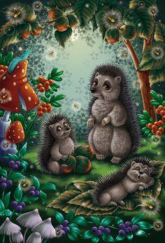 Посмотреть иллюстрацию Татьяна Сонина - Семейство ёжиков.