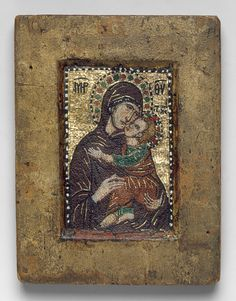 Portable Mosaic Icon with the Virgin Eleousa, early 14th century. Byzantine, probably Constantinople. Miniature mosaic set in wax on wood panel with gold, multicolored stones, and gilded copper tesserae; some portions restored.