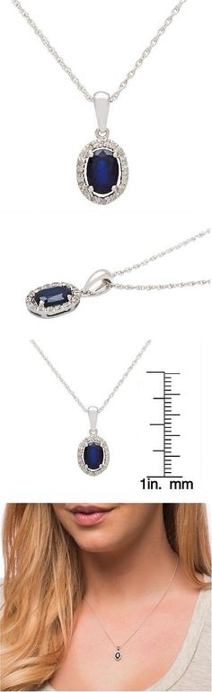 Gemstone 164332: 10K White Gold Genuine Oval 1.15Ct Sapphire And Diamond Halo Necklace -> BUY IT NOW ONLY: $107.24 on eBay!