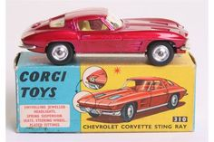 Lot 80 - Corgi Toys 310 Chevrolet Corvette Sting Ray, metallic cerise body, yellow interior, spun wheel hubs,