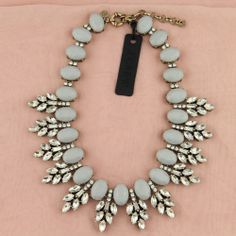 New Gray Crystal Leaves Statement J Crew Necklace Freeshipping   eBay