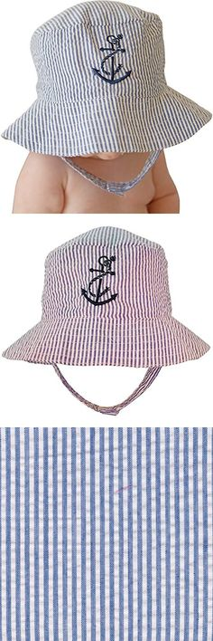 56f0e7c8480 Huggalugs Baby   Toddler Boys Navy Seersucker Anchor Sun Hat UPF 25+