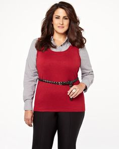 sleeveless shell sweater, addition elle, plus size, trends, work, fashion
