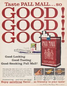 """1961 PALL MALL CIGARETTES vintage magazine advertisement """"Taste Pall Mall"""" ~ Taste Pall Mall ... so Good! Good! Good! ~ Size: The dimensions of the full-page advertisement are approximately 9.75 inches x 12.5 inches (24.75 cm x 31.75 cm). Condition: This original vintage full-page advertisement is in Excellent Condition unless otherwise noted."""