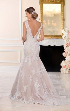 6525 Lace Fit and Flare Wedding Gown with Silver Beading by Stella York