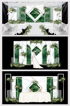 Modern fashion court emerald green Chinese wedding effect picture Wedding Stage Backdrop, Wedding Stage Design, Flower Backdrop, Backdrop Decorations, Backdrops, Wedding Decorations, 3d Models, Simple Backgrounds, Traditional Wedding