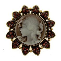 Antique Gold Coloured - Topaz Crystal Sun Flower Cameo Brooch