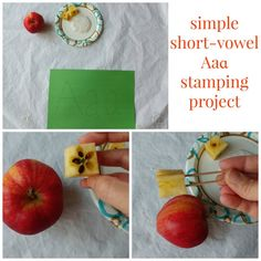 simple short-vowel Aaɑ stamping project setup.  Reinforce early phonics understanding with this fun project!