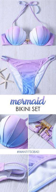 Look as elegant as a mermaid in this head-turning bikini. Catching eyes with its super cute shell top, double-string bikini bottom, special lilac-blue hue and gold-colored accessories. Top: Halter-sty