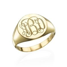 Signet Ring in Gold Plating with Engraved Monogram | MyNameNecklace Makes an amazing mother's day gift!