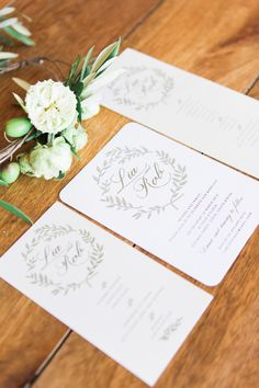 White & Green Laurels Wedding Stationery | Bespoke Robyn Roberts Wedding Dress | Rustic Wedding | Destination Wedding in South Africa | Images by The Barefoot Brunettes | http://www.rockmywedding.co.uk/lia-rob/