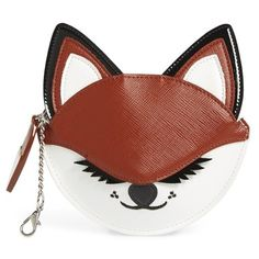 Women's Nordstrom Fox Faux Leather Coin Purse (625 EGP) ❤ liked on Polyvore featuring bags, wallets, cognac, nordstrom wallets, faux leather wallet, zipper change purse, zip bag and zip coin pouch