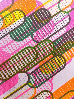 Remind me of pills - repeating objects works so well with Riso..  Risograph Research Kyuha Shim, 3 colour Risograph (detail)