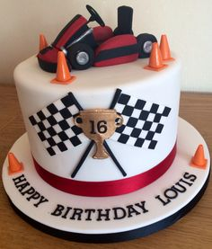 Go Kart Birthday Cake Race Car Birthday, Cars Birthday Parties, Birthday Cake, 21st Birthday, Racing Cake, Race Car Cakes, Cupcakes, Cupcake Cakes, Renn Kuchen