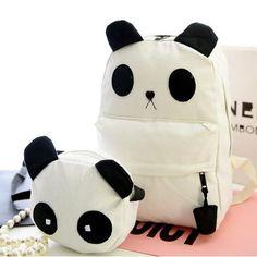 Cute cartoon panda students canvas backpack
