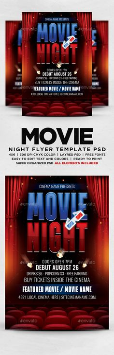 3D Businessman Holding a Stopwatch Font logo, Fonts and Logos - movie night flyer template