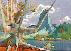 Maria Roa Through Old Kamani Tree, Moorea, 1980, California art by Millard Sheets. HD giclee art prints for sale at CaliforniaWatercolor.com - original California paintings, & premium giclee prints for sale