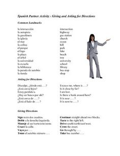 This handout engages students in asking for and giving directions. All directions are in the formal singular (usted) command form. Also included is a glossary of common landmarks around town.Partner activity: have one student ask the other for directions to the closest the park, their home etc.