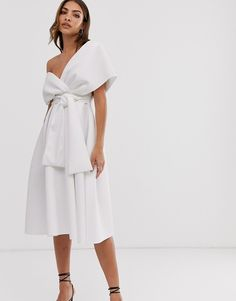 Find the best selection of ASOS DESIGN fallen shoulder midi prom dress with tie detail. Shop today with free delivery and returns (Ts&Cs apply) with ASOS! Asos, Rehearsal Dinner Outfits, Rehearsal Dinners, Party Wear For Women, Bridal Dresses, Prom Dresses, Reception Dresses, Party Kleidung, Jumpsuit Dress