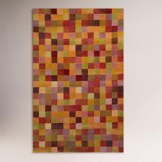 Squares Sunset Wool Tufted Rug | World Market