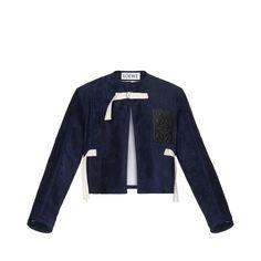 Cropped jacket in dark navy blue suede leather w/ tassel closure