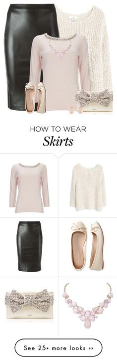 """Leather Pencil Skirt"" by majezy on Polyvore featuring MANGO, 8PM, Wallis, Kate Spade, Aéropostale, Kenneth Jay Lane and Humble Chic"