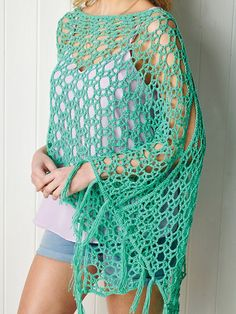 Floaty Poncho is an airy stitch design that makes it a quick hook, and a perfect casual or dressy layer. On the cover of Simply Crochet Magazine, Issue Purchase patterns individually on Ravelry. Winter Knitting Patterns, Crochet Poncho Patterns, Crochet Shawl, Crochet Lace, Free Crochet, Crochet Wraps, Crochet Mitts, Simply Crochet, Crochet Cover Up