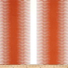 Dwell Studio Gita Stripe Persimmon from @fabricdotcom  Screen printed on cotton duck, this versatile medium weight fabric is perfect for window accents (draperies, valances, curtains and swags), accent pillows, bed skirts, duvet covers, slipcovers , upholstery and other home decor accents. Create handbags, tote bags, aprons and more. Colors include orange and white. This fabric has 50,000 double rubs.