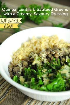 Quinoa, Lentils & Sauteed Greens with a Savoury Dressing (GF)
