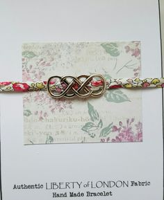 Liberty of London fabric jewellery.  Bracelet with double infinity slider from Mums Jewellery Shed on Facebook