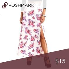 Charlotte Russe High Waisted Floral Slit Maxi Beautiful Charlotte Russe High Slit Maxi Skirt. The skirt is high waisted. Beautiful floral print. Size small. Not Sabo Skirt, tagged for views! Sabo Skirt Skirts Maxi