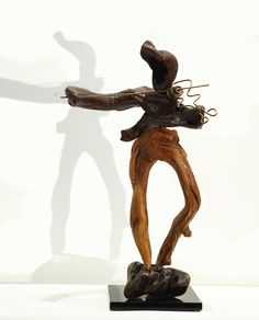 THE VIOLINIST driftwood and bronze sculpture, Abstract home decor, Natural recycled Wood Decorative art.