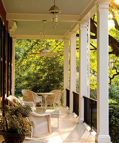 The deep porch at The Brampton Inn in Chestertown, Maryland oozes charm. Featured in our Small-Town Escapes. Photo by Jumping Rocks Photography | Garden & Gun