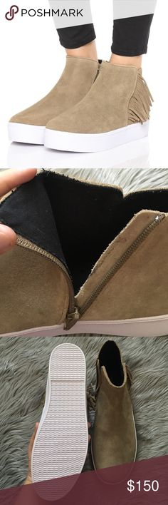 NWOT Rebecca Minkoff Stella Suede Sneaker Gorgeous high top sneaker that is great for any season. Fringe detail on the side. Brand new without tags. Some signs of wear inside the zipper(no big deal, not seen when worn). Some barely there wear to the suede. Offers welcome through offer tab. No trades. 10905161141 Rebecca Minkoff Shoes Sneakers