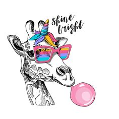 Fun Giraffe in a rainbow glasses, mane, horn and with a pink bubble gum. Humor card, t-shirt composition, hand drawn style print. Arte Dope, Giraffe Pictures, Giraffe Art, Pink Bubbles, Tier Fotos, Cool Art, Art Drawings, Graffiti, How To Draw Hands