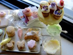 Dollhouse miniature SPRING baking cupcakes and cookies by Kimsminibakery on Etsy