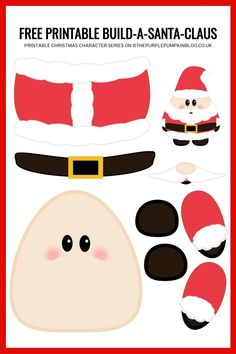 This Build a Santa printable is a fun paper craft for Christmas and a great way to keep the kids entertained while they wait for. Simply print the free paper Santa template, cut the pieces out and stick together to build a cute Santa Claus! Preschool Christmas Activities, Christmas Crafts For Kids, Christmas Projects, Preschool Crafts, Holiday Crafts, Christmas Colors, Preschool Classroom, Printable Crafts, Christmas Printables