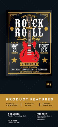 Rock Gig Poster v2 Jars, Typography and Flyer template - lost poster template