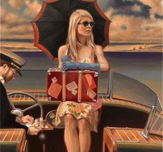 PEREGRINE HEATHCOTE – ARTIST, Peregrine Heathcote's paintings conjure a world of intoxicating glamour and intrigue, slipping across the boundaries of time to fuse iconic pre-war design with modern conceptions of beauty and silverscreen-era romance. Norman Rockwell, Illustrations, Illustration Art, Florence Academy Of Art, Art Deco Artists, Edward Hopper, Art Deco Posters, Peregrine, Vintage Travel Posters