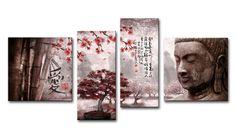 lH_Xl01_2018.3_R Cuadro Paisaje con Buda y letras Japonesas Rojo