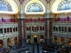 View of Reading Room - Library of Congress.  Oh to be studying law in that room!