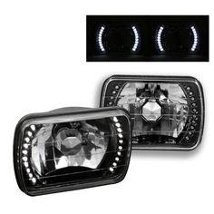 Jeep Cherokee 1979-2001 White LED Black Sealed Beam Headlight Conversion