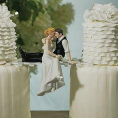 Shop romantic wedding cake toppers featuring the bride and groom in a variety of poses that capture the beauty of romance for a keepsake reminder of their love. Perfect Wedding, Dream Wedding, Wedding Day, Wedding Reception, Hair Wedding, Double Wedding, Wedding Programs, Wedding Dreams, Gold Wedding