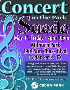 Just minutes from Rancho Sienna is Concert in the Park in Cedar Park - Friday, May 1st!