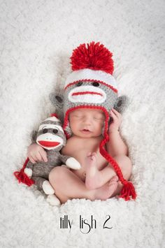 Baby Boy Hat  Sock Monkey by inamood on Etsy, $25.00. I'm in love with the baby sick monkey stuff rite now