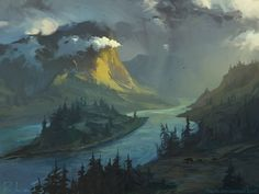 speedpaint, rhads, montain, bears, river, sky