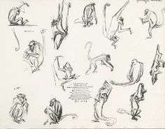 A number of animators drew scenes with King Louie's monkey gang for The Jungle Book . Those crowd shots are a lot of work, since ea. Cool Animations, Animal Drawings, New Art, Concept Art, Character Design, Sketches, Monkeys, Artist, Books