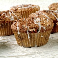 For these Sour Cream Coffeecake Muffins, fold the batter just four times to swirl in the sugar mixture, not fully blend it.